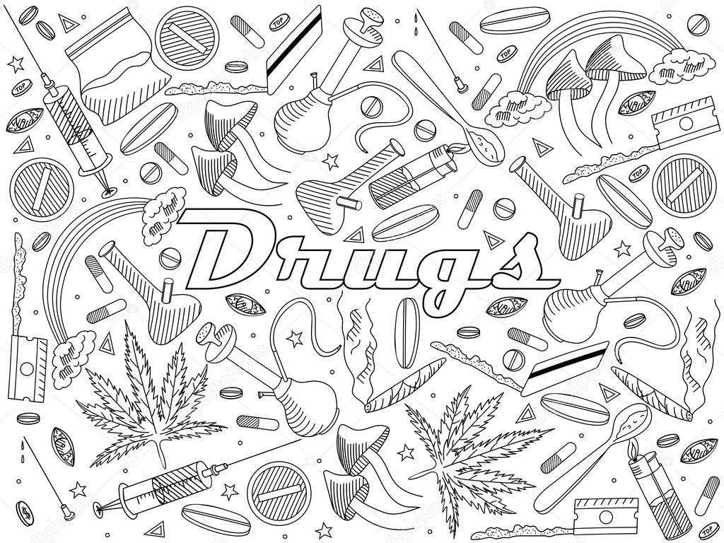 Drugs coloring book vector illustration — Stock Vector ...