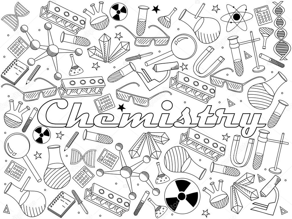 Chemistry coloring book vector illustration Stock Vector