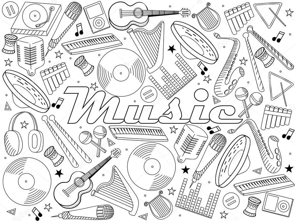 Instrumentos musicales para colorear vector libro — Vector de stock ...