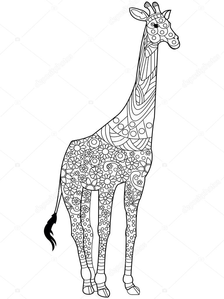 Giraffe coloring book vector for adults — Stock Vector ...