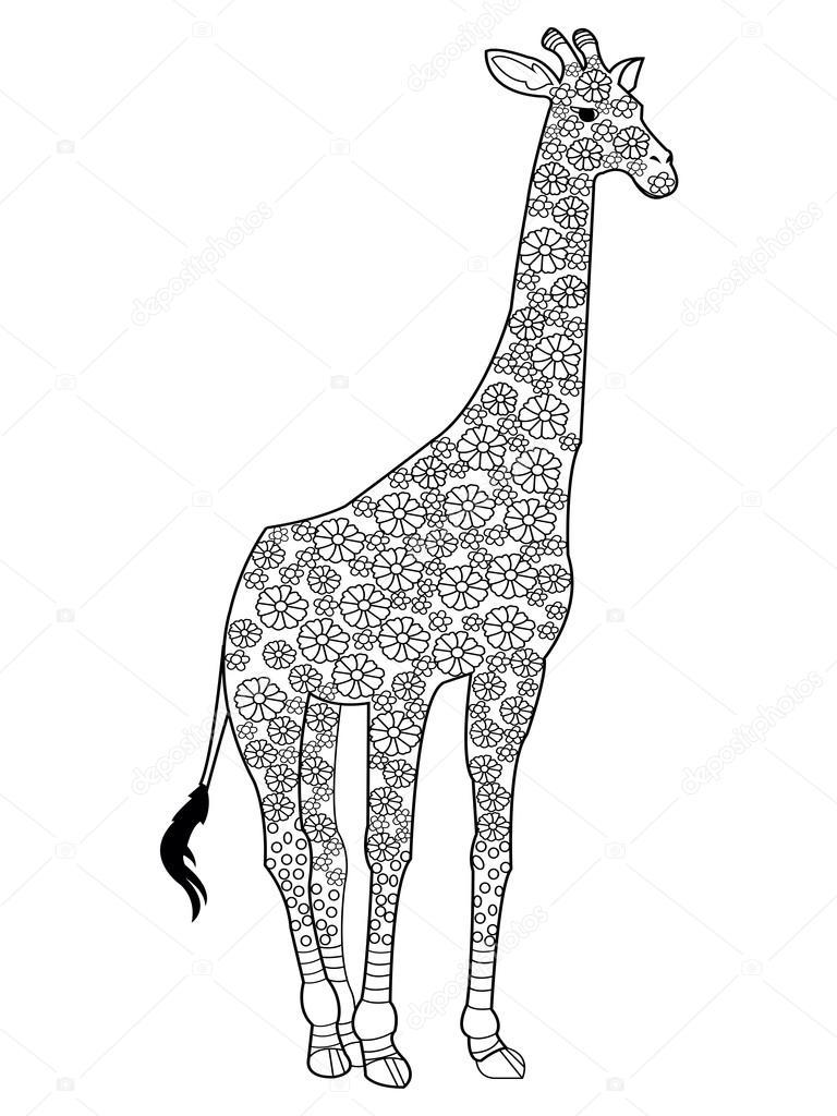 Kleurplaten Voor Volwassenen Giraf.Giraffe Coloring Book Vector For Adults Stockvector