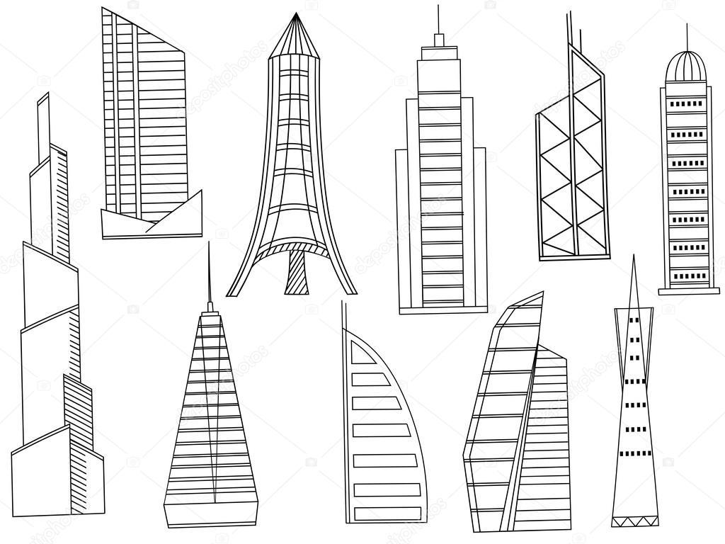 Edificios altos para colorear vector libro — Archivo Imágenes ...
