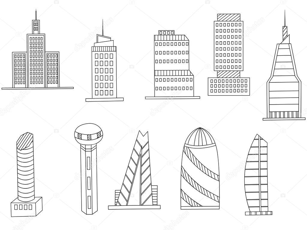 Edificios altos para colorear vector libro — Vector de stock ...