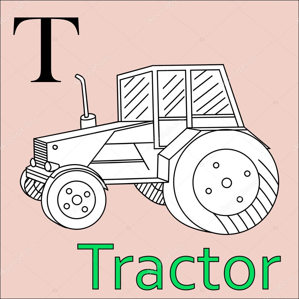 T letter. Vector alphabet. Coloring book tractor — Stock Vector ...