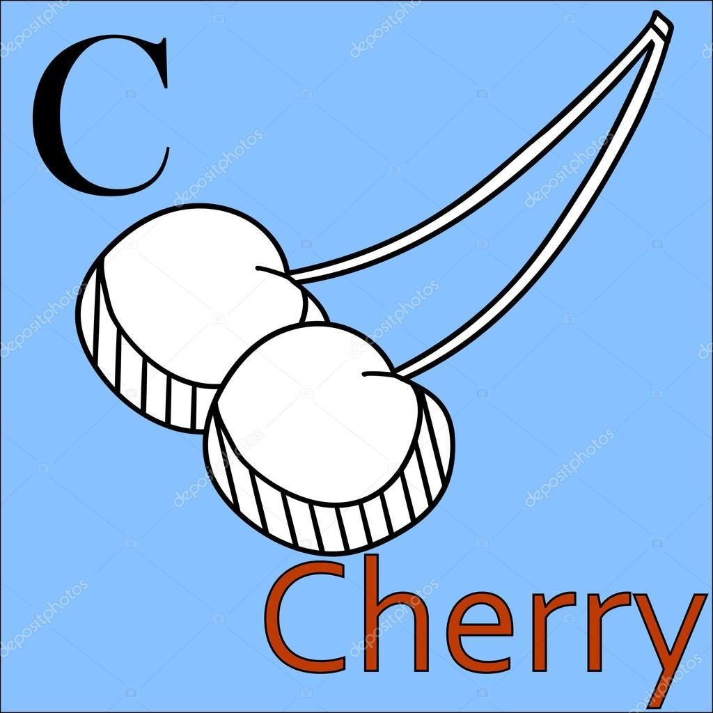 Letra C. Alfabeto vectorial. Cereza de libro para colorear — Archivo ...