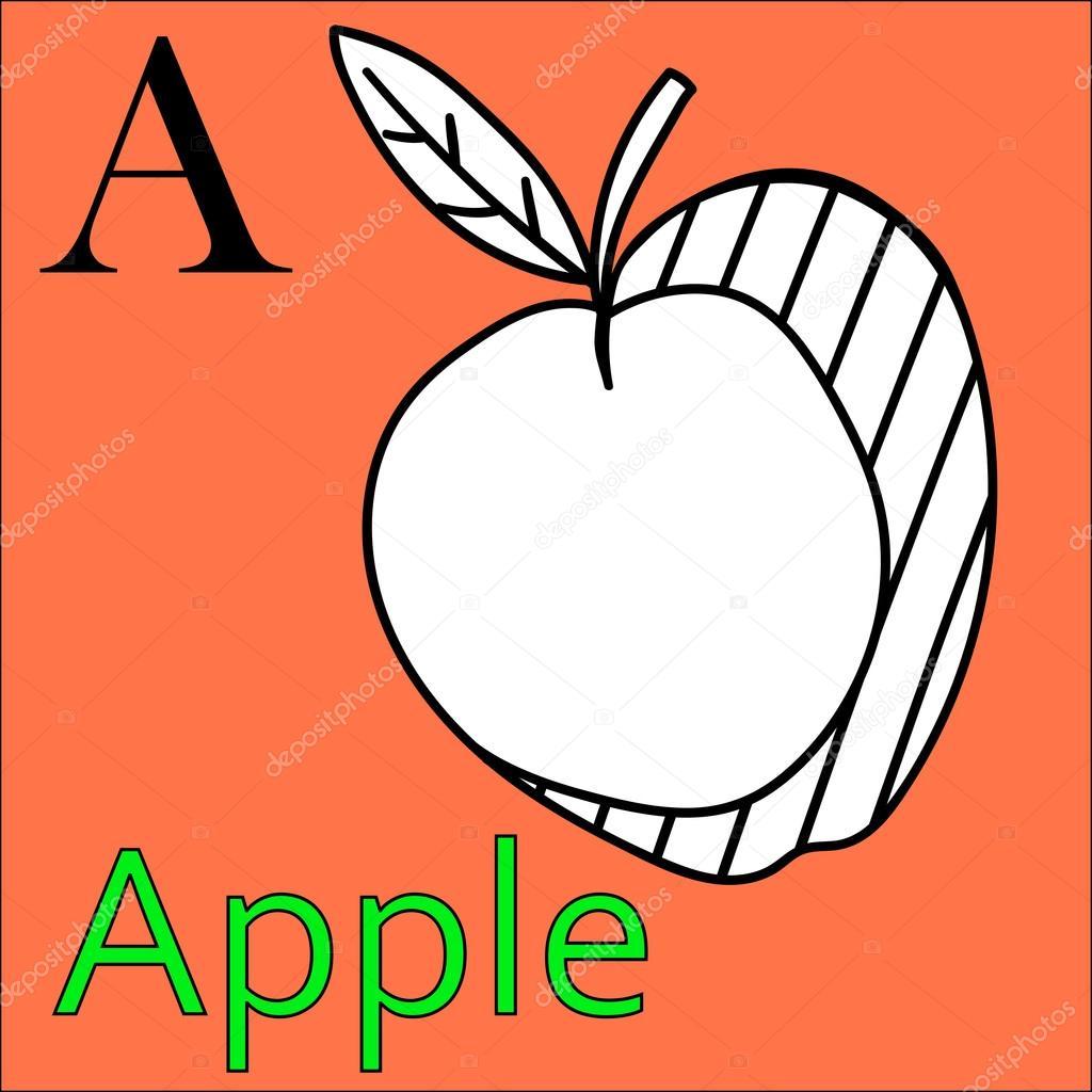 Alfabeto de letras A. Vector. Manzana de libro para colorear ...