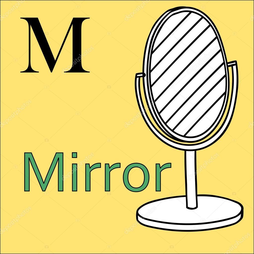 M Harfi Vektör Alfabe Boyama Kitabı Ayna Stok Vektör