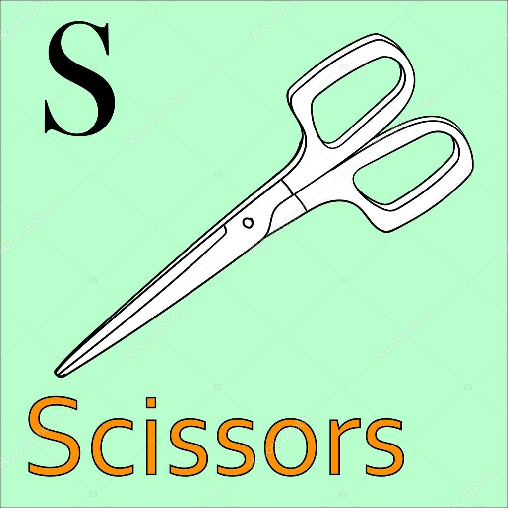 S letter. Vector alphabet. Coloring book scissors — Stock Vector ...
