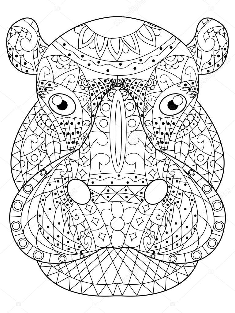 nijlpaard hoofd vector kleurplaten voor volwassenen