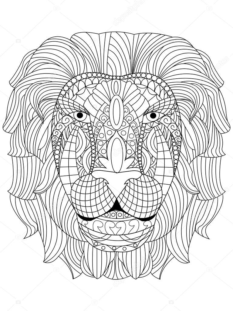 Cabeza de León para colorear vector para adultos — Archivo Imágenes ...