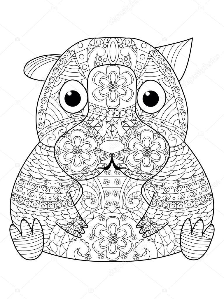 Hamster Boek Vector Kleurplaten Voor Volwassenen Stockvector