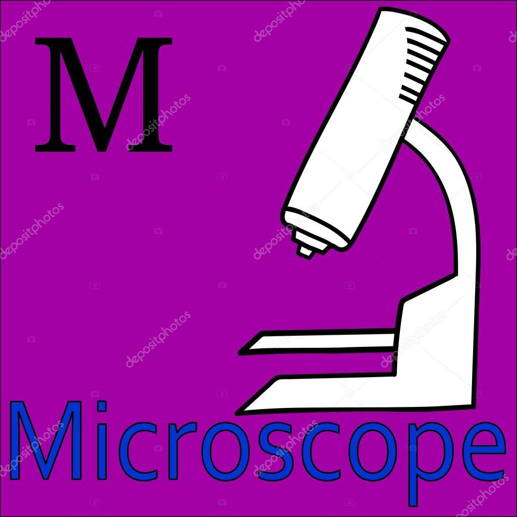 Letra M. Alfabeto vectorial. Para colorear microscopio — Vector de ...