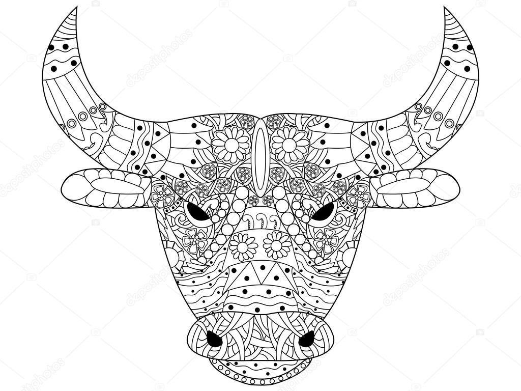 hoofd stier vector kleurplaten voor volwassenen