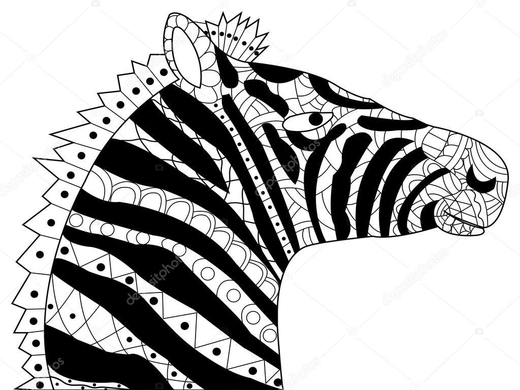 Cabeza de cebra para colorear vector para adultos — Archivo Imágenes ...