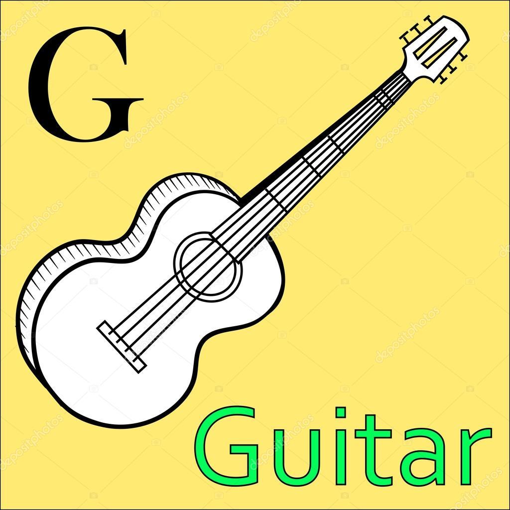 Carta de G. Alfabeto vectorial. Guitarra de libro para colorear ...