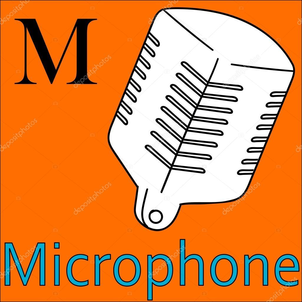 M Harfi Vektör Alfabe Boyama Mikrofon Stok Vektör