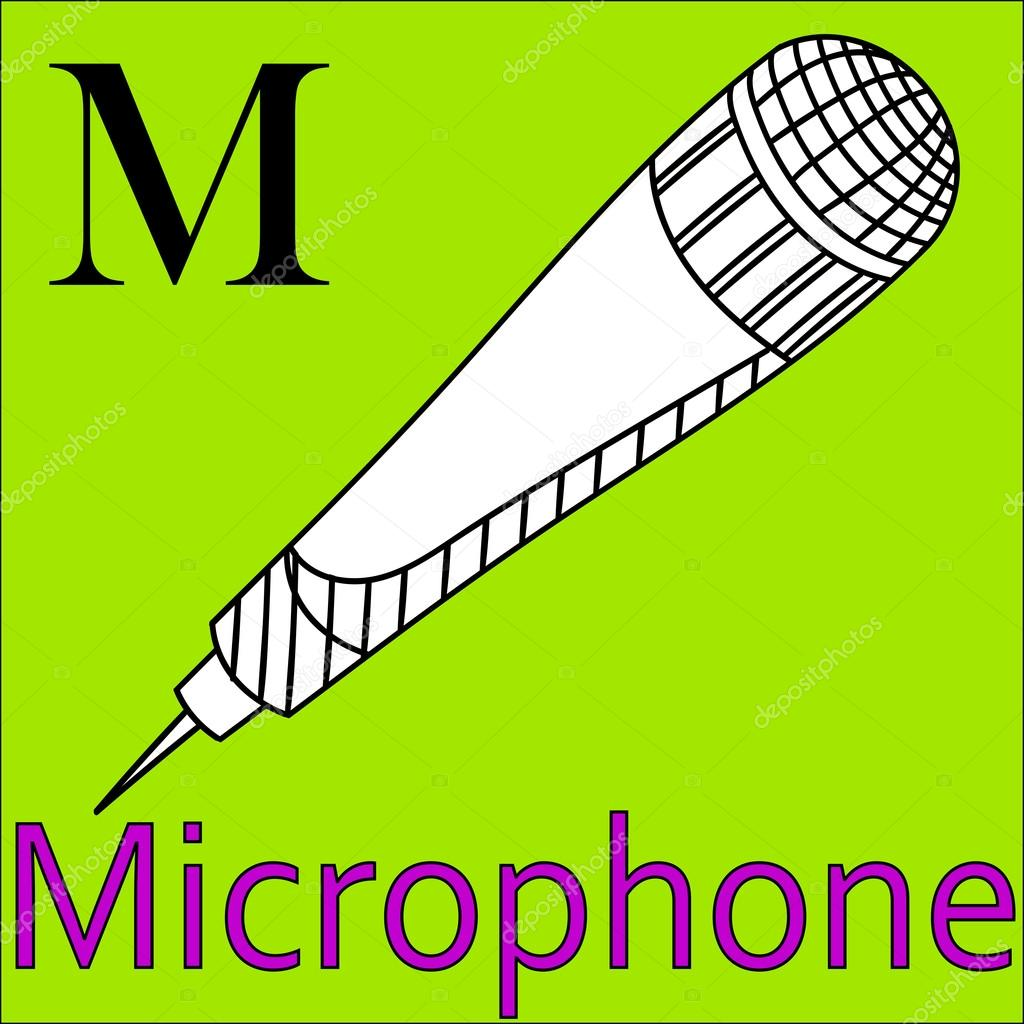 M letter. Vector alphabet. Coloring book microphone — Stock Vector ...