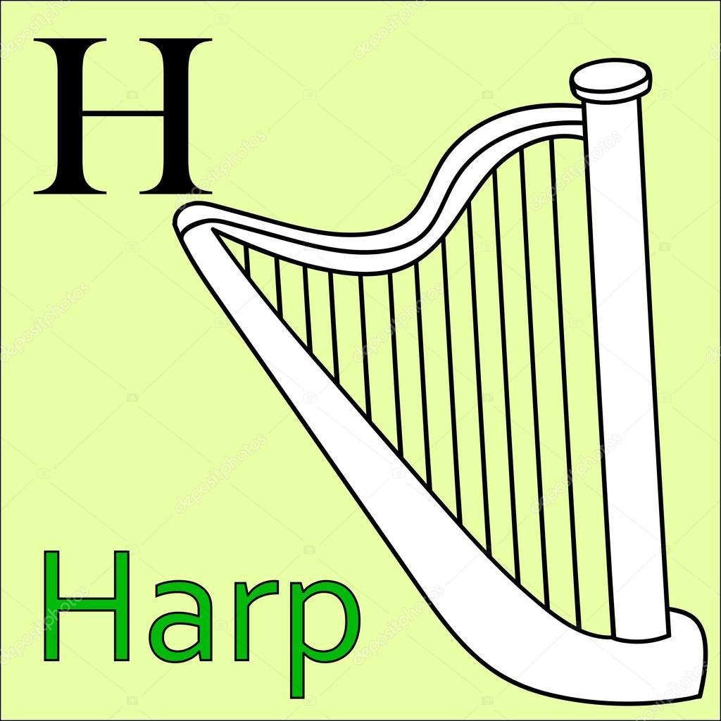 H-Brief. Vektor-Alphabet. Färbung Bücher Harfe — Stockvektor ...