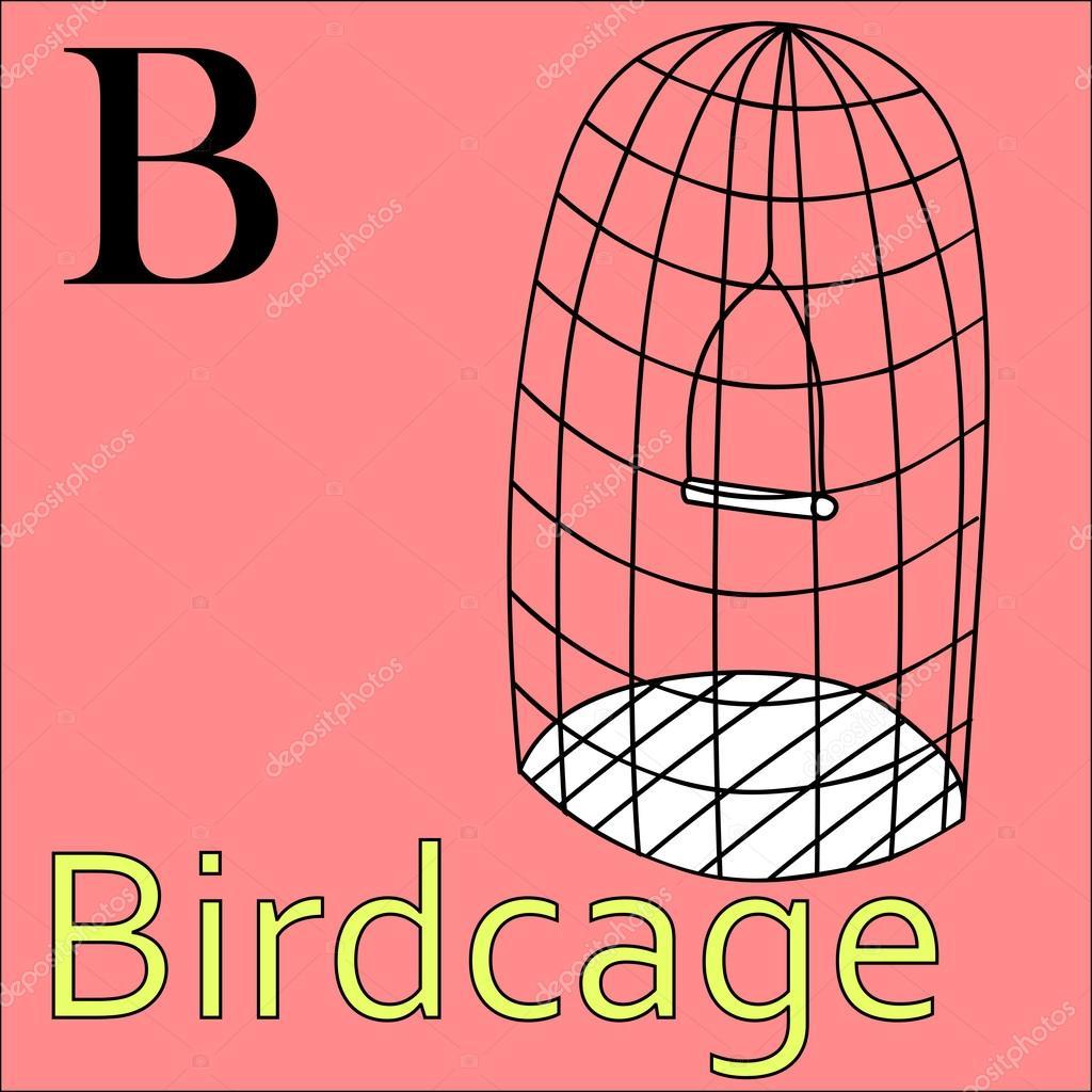B Harfi Vektör Alfabe Boyama Kitabı Kuş Kafesi Stok Vektör