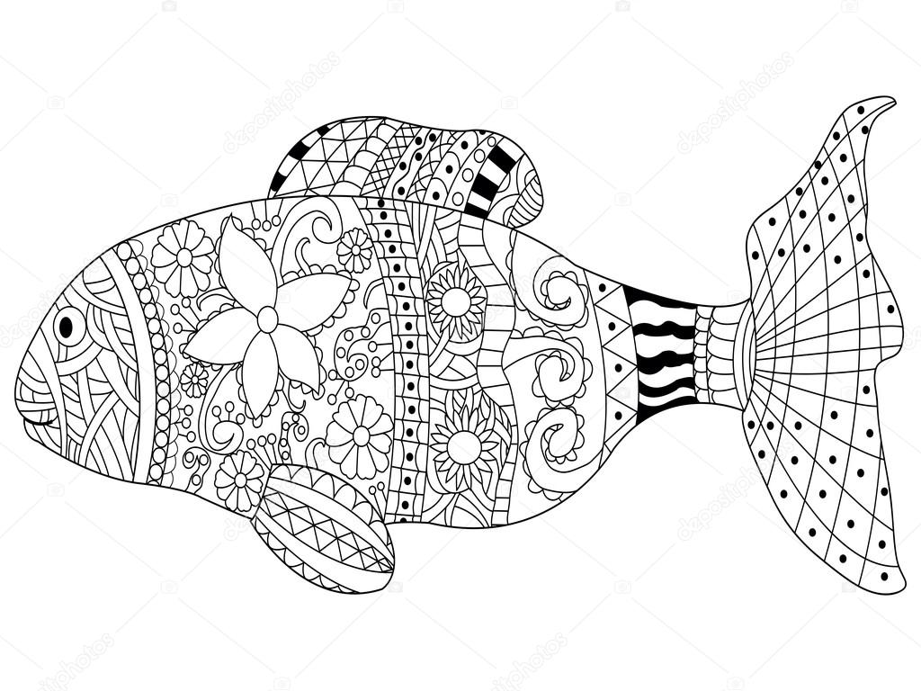 Yetişkinler Için Kitap Vektör Boyama Balık Stok Vektör