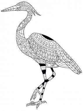 Heron coloring vector for adults