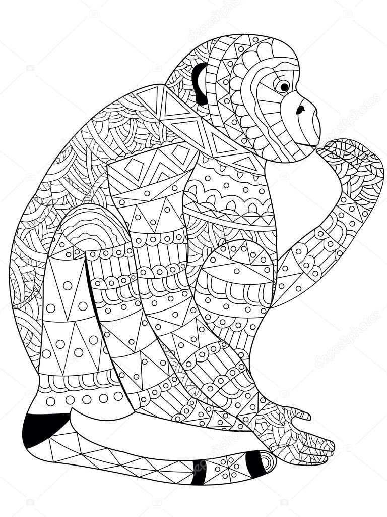 kleurplaat voor volwassenen dieren panda aap kleurplaat