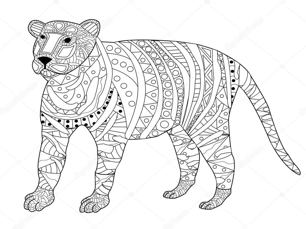 tijger vector het kleuren voor volwassenen