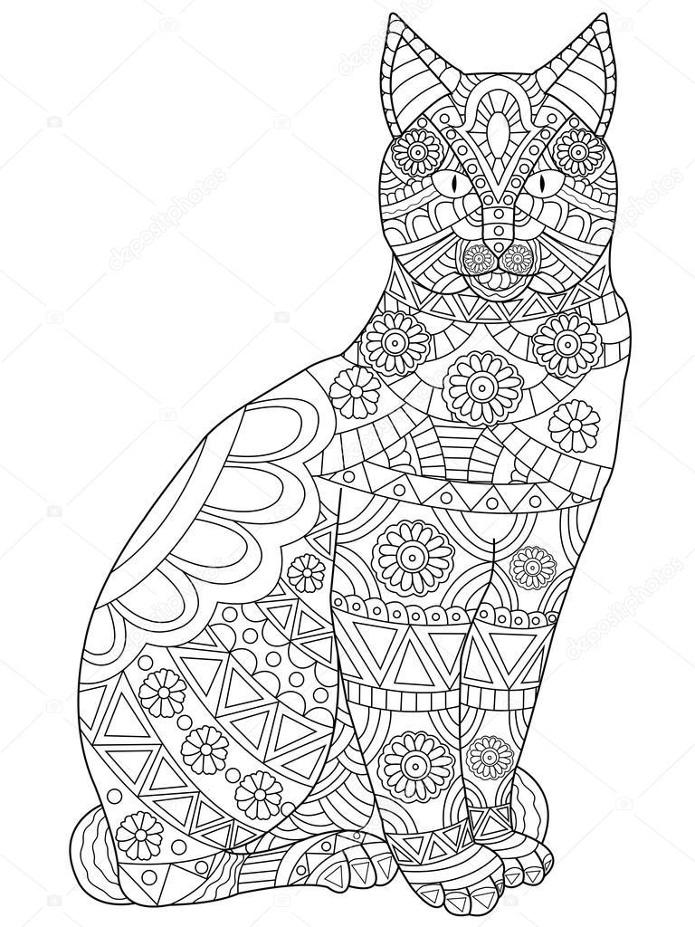 Vector de gato para colorear para adultos — Vector de stock ...