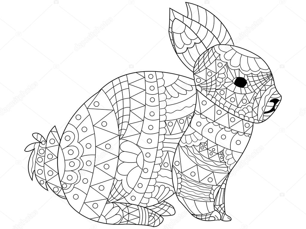 Vecteur de coloriage de lapin pour les adultes — Image vectorielle