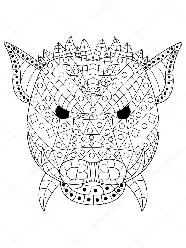 дикий кабан раскраска вектор окраски головы дикого кабана