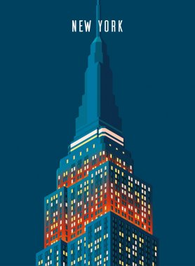 Vector illustration. Poster. Night Empire state building high-rise building, tourist attraction in the isometric perspective in New York. Cartoon style.