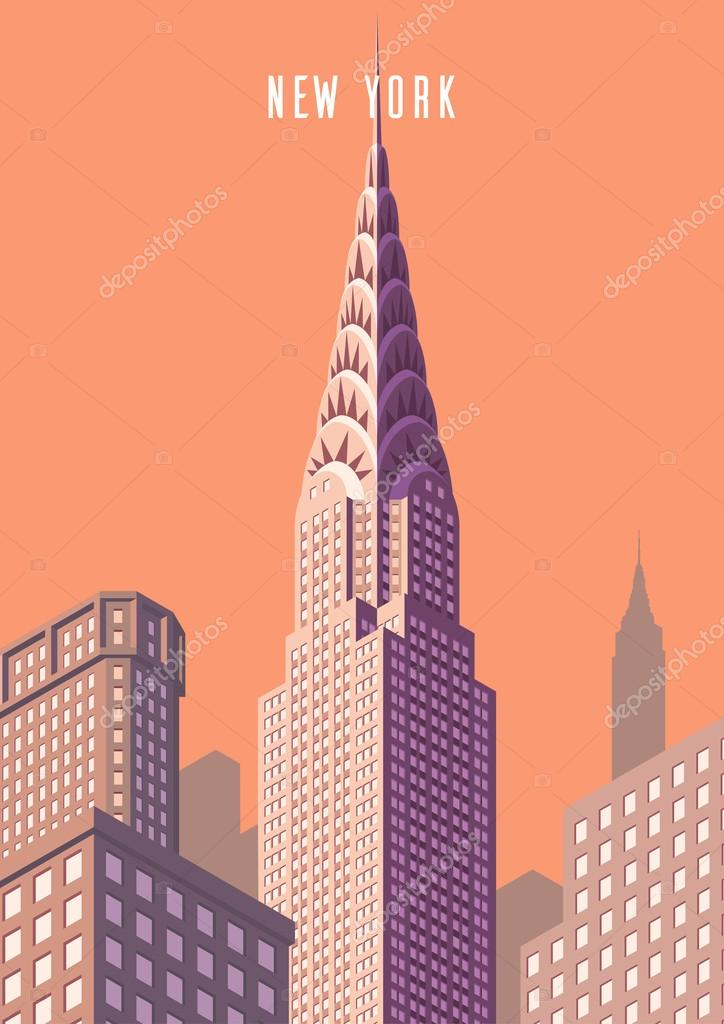 New Chrysler 300 >> Vector illustration. cityscape. New York and Chrysler building. Isometric perspective. Cartoon ...