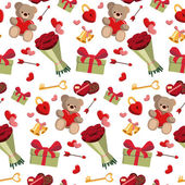 Fotografia Reticolo senza cuciture romantico del fumetto giorno di San Valentino. Carta da parati astratta, sfondo con San Valentino, presentare, mazzo di Rose, cioccolatini, orsacchiotto e serratura