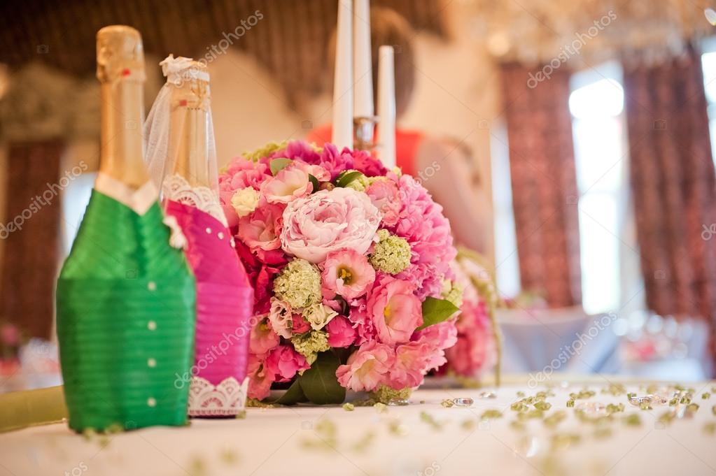 Hochzeit Tisch Dekoration Brautpaar In Einem Rosa Grun Palette