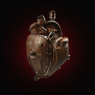 Steampunk mecha robot techno heart. engine with pipes, radiators and wooden hood parts.  isolated