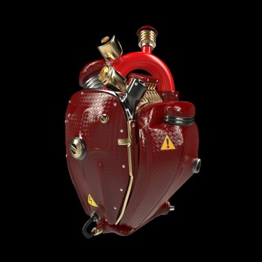 Diesel punk robot techno heart. engine with pipes, radiators and glossy red carbon hood parts.  isolated