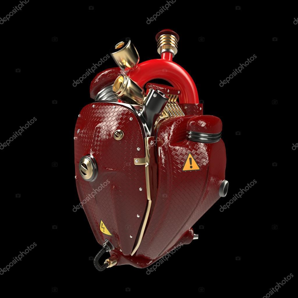 Diesel Punk Roboter Techno Herz. Motor mit Rohren, Heizkörpern und ...