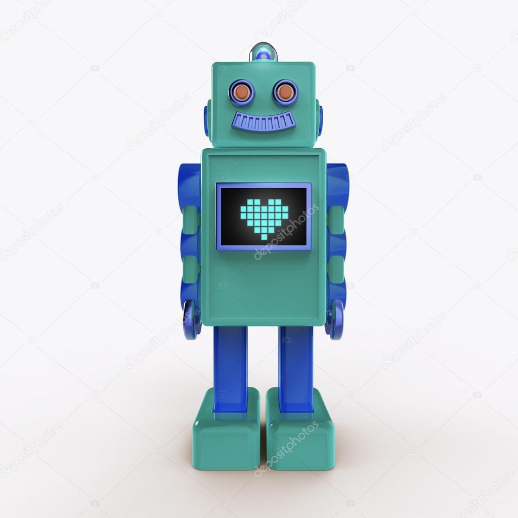 Bub Léger Brillant Vert Bleu En Plastique Robot Vintage