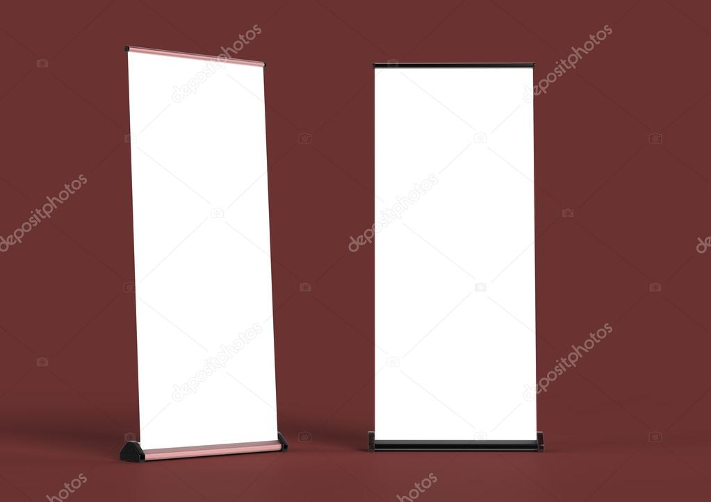 blank roll up banners template rendering isolated on color