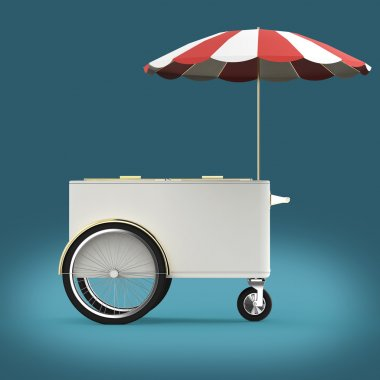 Promotion counter on wheels with umbrella, food, ice cream, hot dog push cart Retail Trade Stand Isolated  render