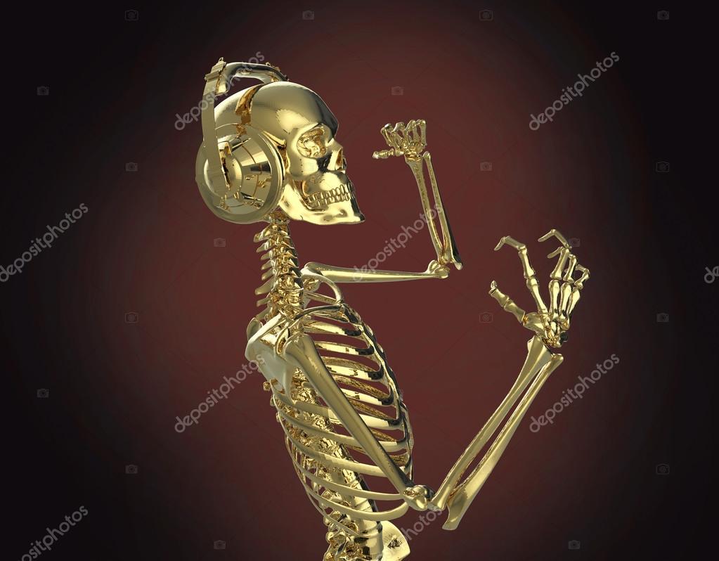 Golden shiny metal skeleton in big earphones posing
