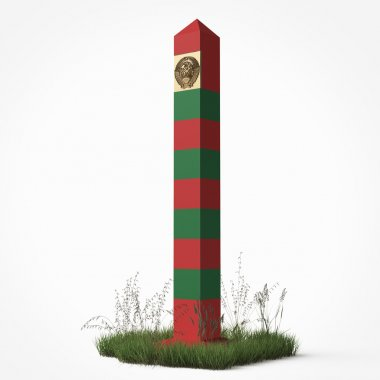 soviet border monument, frontier post sign with patch of grass isolated render the boundsry guards day 28 may concept