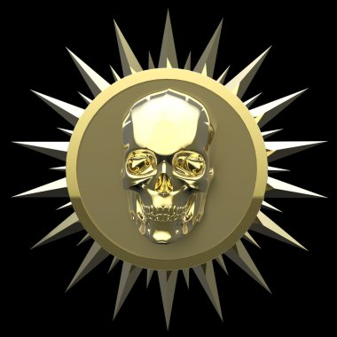shiny gold metal skull on matte golden plate with   spikes around,isolated  black, pirates crest. render