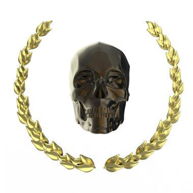 golden skull surrounded with goldel laurel leaves isolated on black background rendering