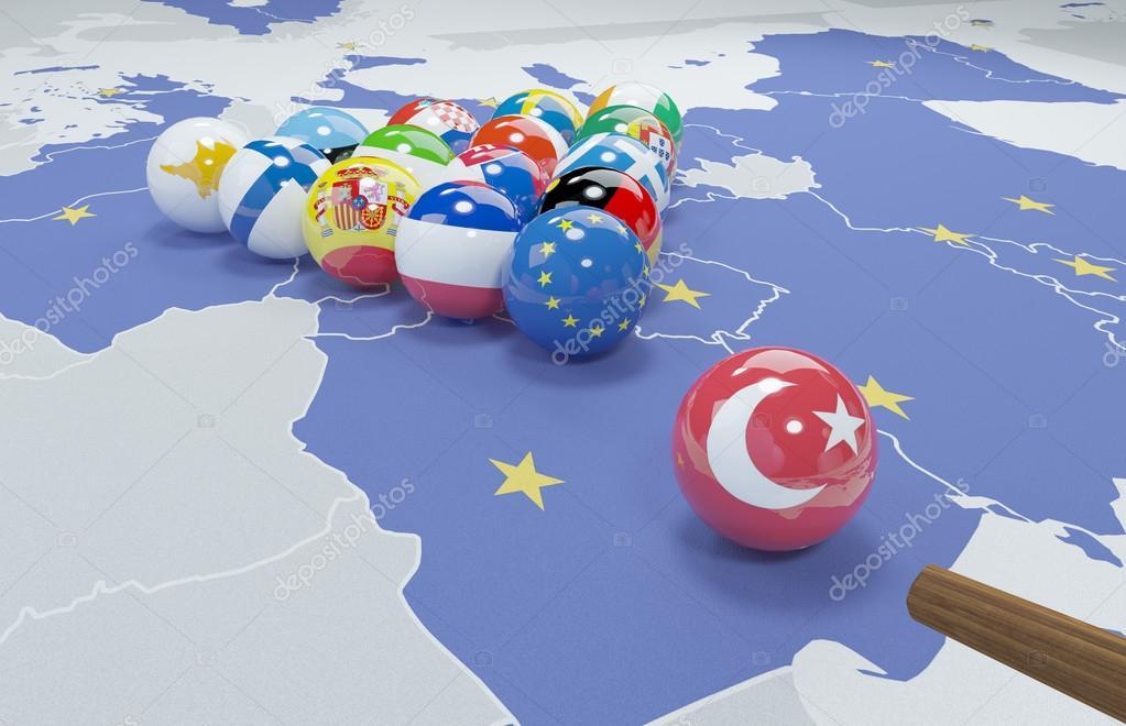 Illustrazione 3d di bandiere dell 39 unione europea e la turchia sul tavolo da biliardo foto - Porta bandiere da tavolo ...