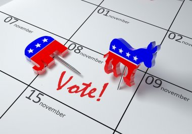 3D illustration of a calendar showing the day of elections in USA