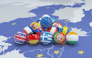 3d illustration - eu flags on eu map 2