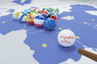 3d illustration of eu flags on eu map