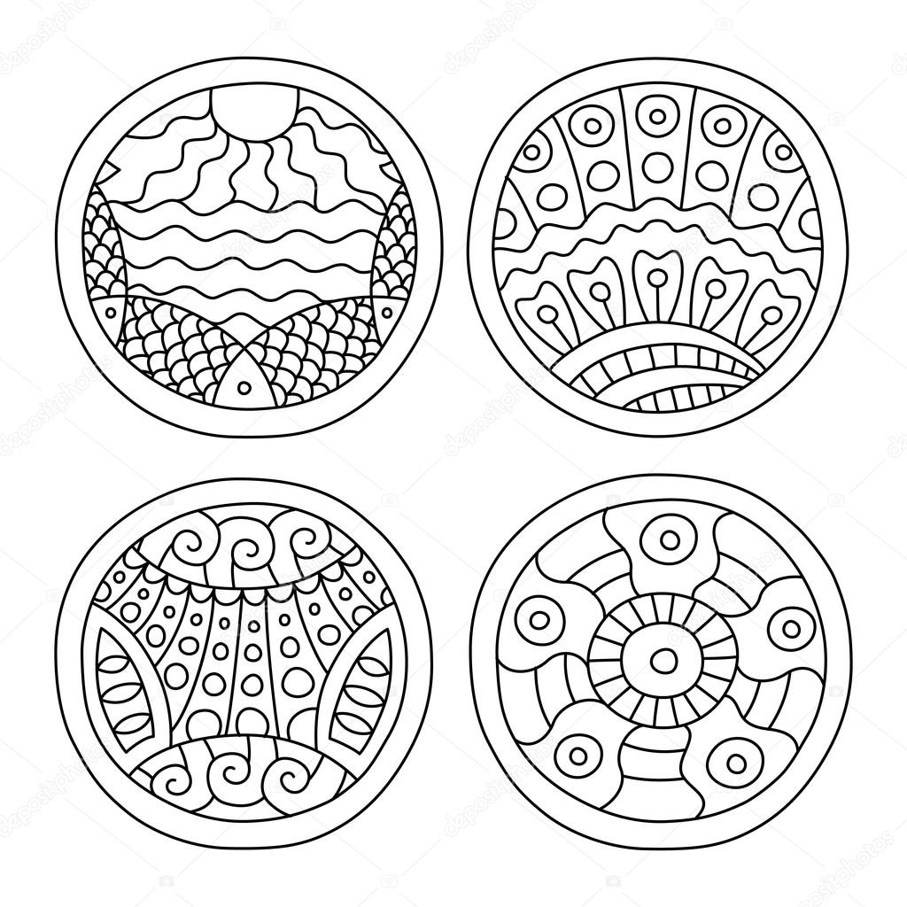 Lleno de garabatos conjunto de círculos — Archivo Imágenes ...