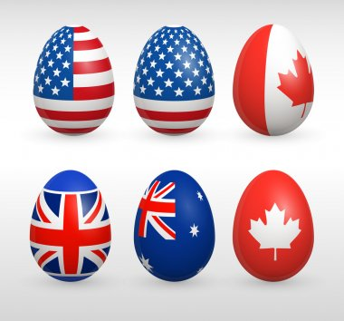 Easter eggs states colors flags set